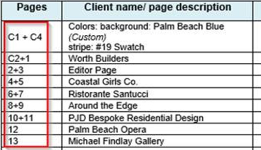client provided page list